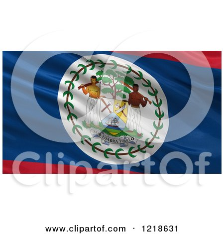 Clipart of a 3d Waving Flag of Belize with Rippled Fabric - Royalty Free Illustration by stockillustrations