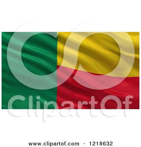 Clipart of a 3d Waving Flag of Benin with Rippled Fabric - Royalty Free Illustration by stockillustrations
