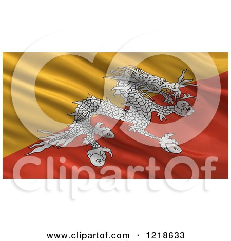Clipart of a 3d Waving Flag of Bhutan with Rippled Fabric - Royalty Free Illustration by stockillustrations