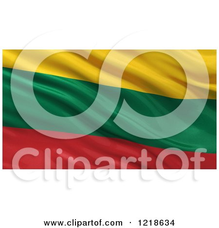 Clipart of a 3d Waving Flag of Lithuania with Rippled Fabric - Royalty Free Illustration by stockillustrations