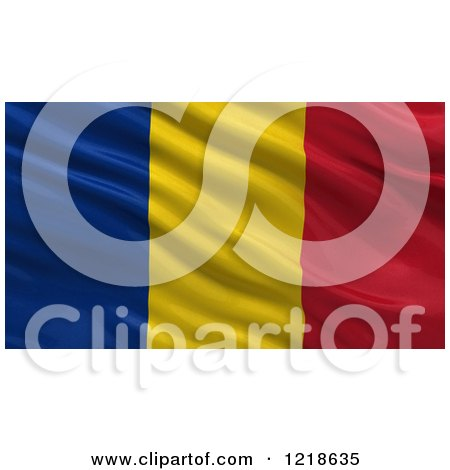 Clipart of a 3d Waving Flag of Romania with Rippled Fabric - Royalty Free Illustration by stockillustrations