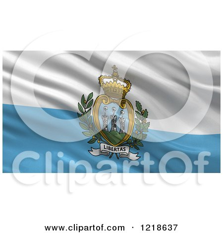 Clipart of a 3d Waving Flag of San Marino with Rippled Fabric - Royalty Free Illustration by stockillustrations
