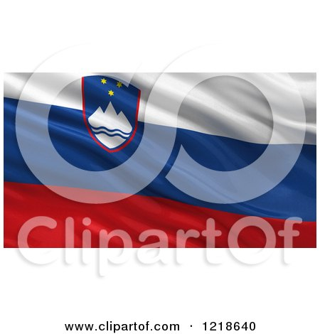 Clipart of a 3d Waving Flag of Slovenia with Rippled Fabric - Royalty Free Illustration by stockillustrations