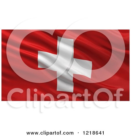 Clipart of a 3d Waving Flag of Switzerland with Rippled Fabric - Royalty Free Illustration by stockillustrations