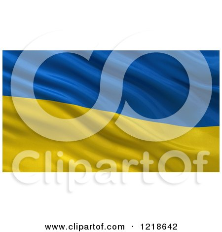 Clipart of a 3d Waving Flag of Ukraine with Rippled Fabric - Royalty Free Illustration by stockillustrations