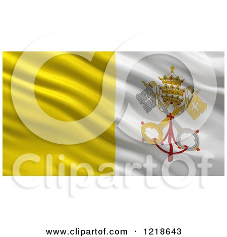 Clipart of a 3d Waving Vatican Flag with Rippled Fabric - Royalty Free Illustration by stockillustrations