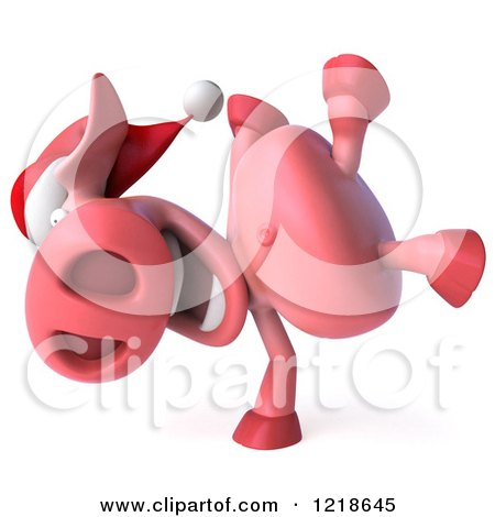 Clipart of a 3d Christmas Pookie Pig Doing a Hand Stand - Royalty Free Illustration by Julos