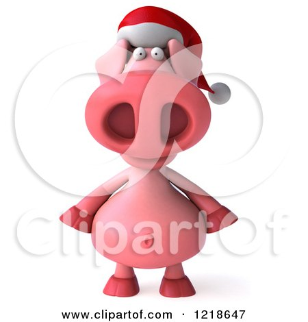 Clipart of a 3d Christmas Pookie Pig Wearing a Santa Hat - Royalty Free Illustration by Julos