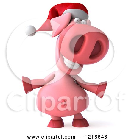 Clipart of a 3d Happy Christmas Pookie Pig - Royalty Free Illustration by Julos