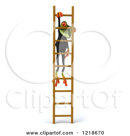 Clipart of a 3d Business Springer Frog Hanging on a Ladder - Royalty Free Illustration by Julos