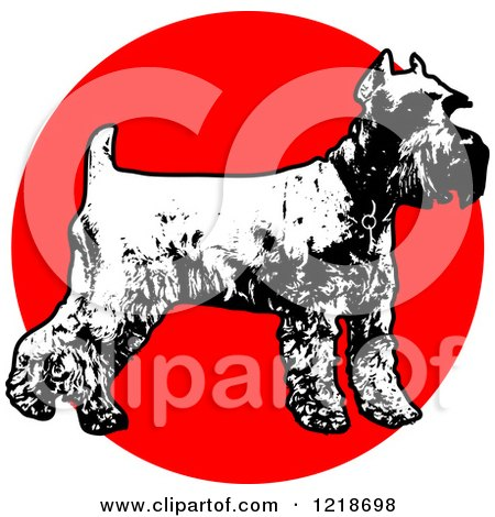 Clipart of a Standing Black and White Schnauzer over a Red Circle - Royalty Free Vector Illustration by Maria Bell