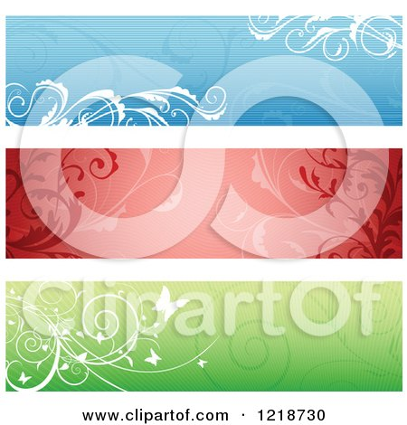 Clipart of Blue Red and Green Floral Website Banners - Royalty Free Vector Illustration by dero