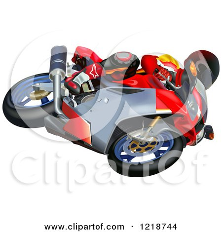 Clipart of a Man Riding an Aprilia Motorcycle - Royalty Free Vector Illustration by dero