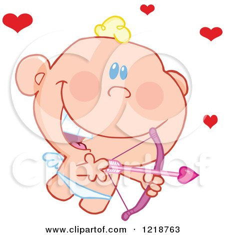 Clipart of a Cute Happy Cupid Holding a Pink Bow and Arrow with Red Hearts - Royalty Free Vector Illustration by Hit Toon