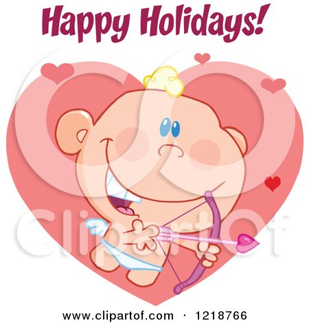 Clipart of Happy Holidays Text over a Cute Cupid Wiah an Arrow and Hearts - Royalty Free Vector Illustration by Hit Toon