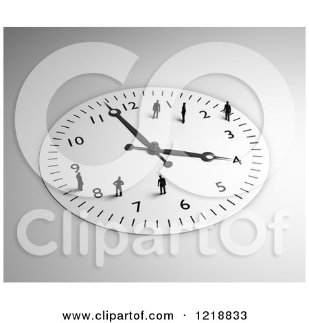 Clipart of a 3d Wall Clock with Tiny People on It - Royalty Free Illustration by Mopic