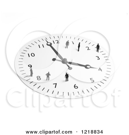 Clipart of a 3d Wall Clock with Tiny People on It 2 - Royalty Free Illustration by Mopic