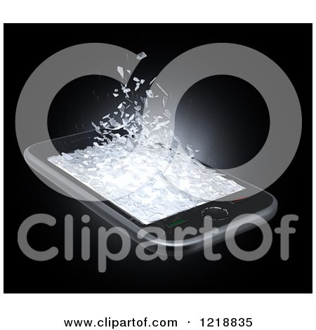 Clipart of a 3d Cell Phone with a Shattering Display 2 - Royalty Free Illustration by Mopic