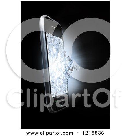 Clipart of a 3d Cell Phone with a Shattering Display - Royalty Free Illustration by Mopic