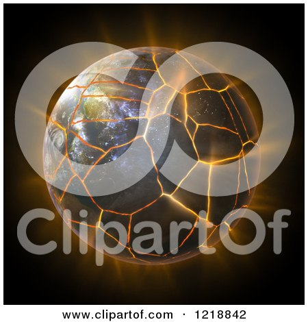 Clipart of a 3d Burning Earth About to Explode - Royalty Free Illustration by Mopic