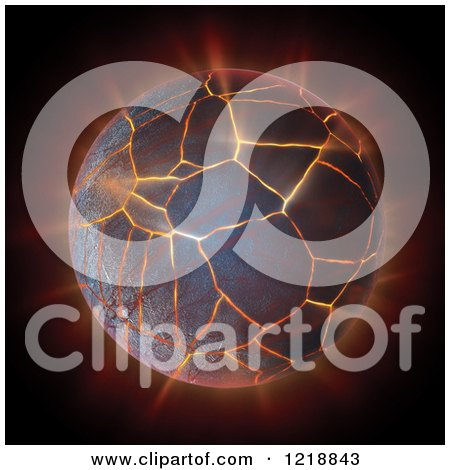 Clipart of a 3d Burning and Cracking Globe - Royalty Free Illustration by Mopic