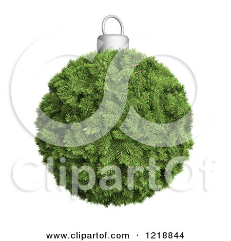 Clipart of a 3d Fir Christmas Bauble - Royalty Free Illustration by Mopic