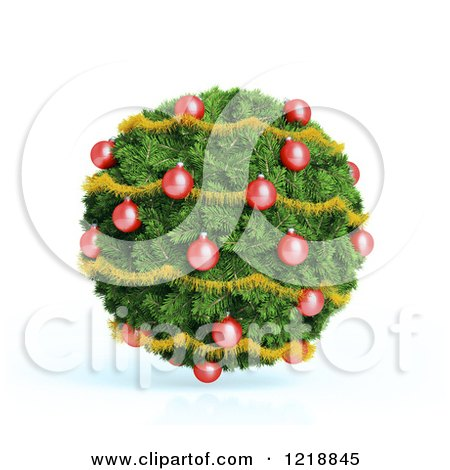 Clipart of a 3d Christmas Bauble Made of Fir and Ornaments - Royalty Free Illustration by Mopic