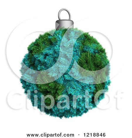 Clipart of a 3d Fir Earth Christmas Bauble - Royalty Free Illustration by Mopic