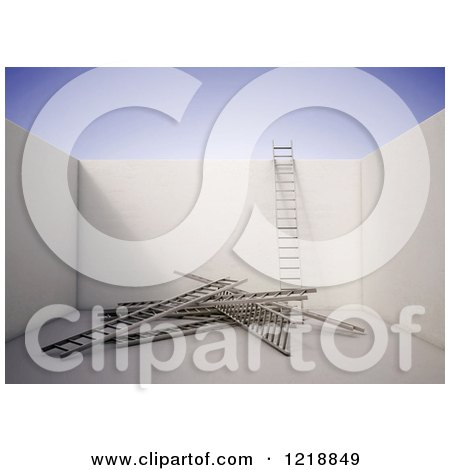 Clipart of a 3d Room with Ladders on the Floor and One Against a Wall - Royalty Free Illustration by Mopic