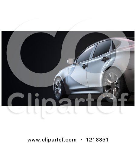 Clipart of a 3d Luxury Sedan Car on Black - Royalty Free Illustration by Mopic
