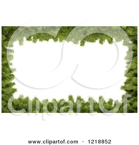 Clipart of a 3d Christmas Border Made of Fir Twigs Around White Text Space - Royalty Free Illustration by Mopic