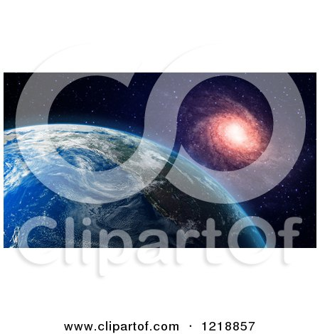 Clipart of a 3d Earth and Spiral Galaxy - Royalty Free Illustration by Mopic