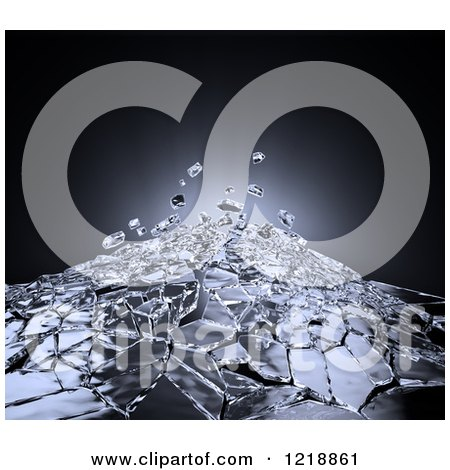 Clipart of 3d Glass Shattering - Royalty Free Illustration by Mopic