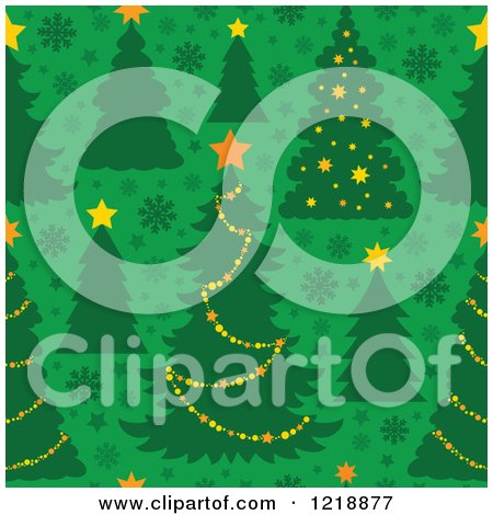 Clipart of a Seamless Christmas Pattern with Trees on Green - Royalty Free Vector Illustration by visekart