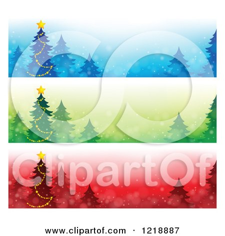 Clipart of Blue Green and Red Christmas Tree Website Banners - Royalty Free Vector Illustration by visekart