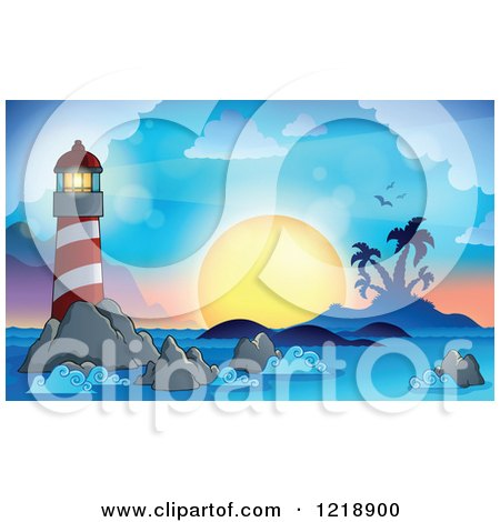 Clipart of a Lighthouse and Beacon at Sunset - Royalty Free Vector Illustration by visekart
