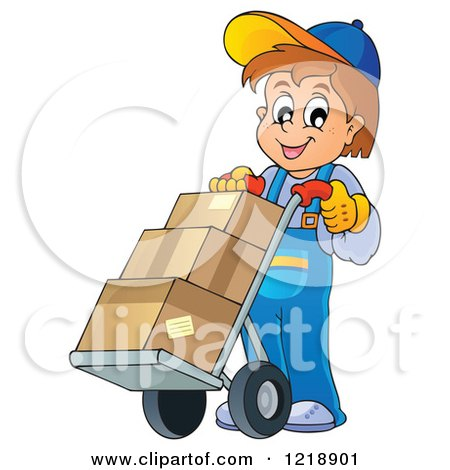 Clipart of a Happy Delivery Worker Boy with Boxes on a Dolly - Royalty Free Vector Illustration by visekart