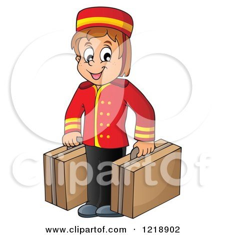 Clipart of a Happy Hotel Bellhop Worker Boy with Luggage - Royalty Free Vector Illustration by visekart