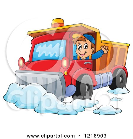 Clipart of a Happy Snow Plow Driver Waving - Royalty Free Vector ...