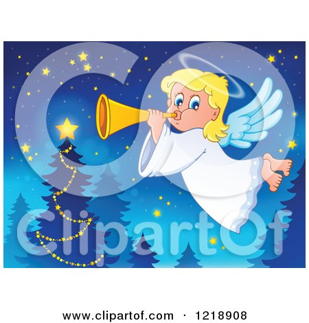 Clipart of a Cute Christmas Angel Girl Blowing a Horn by a Tree - Royalty Free Vector Illustration by visekart