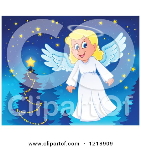 Clipart of a Cute Christmas Angel by a Tree - Royalty Free Vector Illustration by visekart