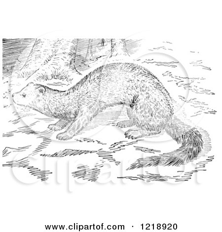 Clipart of a Black and White Fisher in the Woods - Royalty Free Vector Illustration by Picsburg