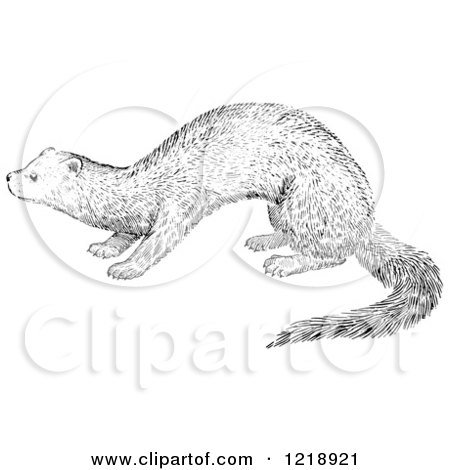 Clipart of a Black and White Fisher - Royalty Free Vector Illustration by Picsburg