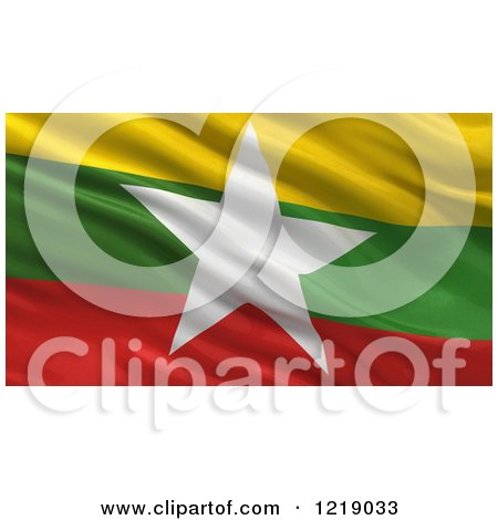 Clipart of a 3d Waving Flag of Myanmar with Rippled Fabric - Royalty Free Illustration by stockillustrations