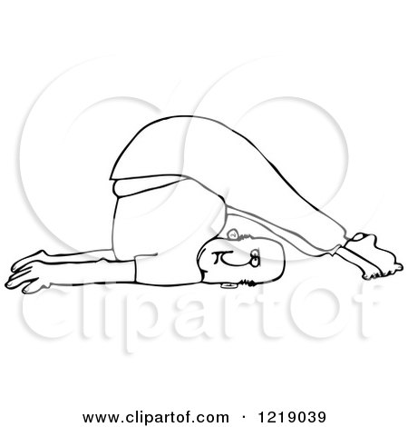 Clipart of an Outlined Man Stretching with His Feet over His Head - Royalty Free Vector Illustration by djart