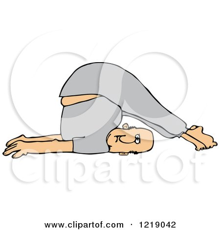 Clipart of a White Man Stretching with His Feet over His Head - Royalty Free Vector Illustration by djart