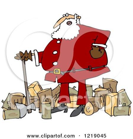 Clipart of Santa Chopping Wood - Royalty Free Vector Illustration by djart