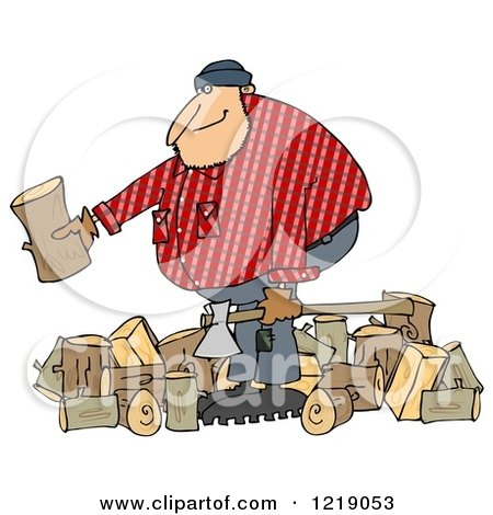 Clipart of a Logger Lumberjack Man with Logs and an Axe - Royalty Free Illustration by djart