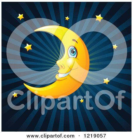 Clipart of a Happy Crescent Moon and Gold Stars over Blue Rays - Royalty Free Vector Illustration by Pushkin