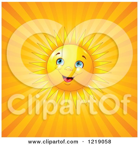Clipart of a Happy Sun Shining over Orange Rays - Royalty Free Vector Illustration by Pushkin